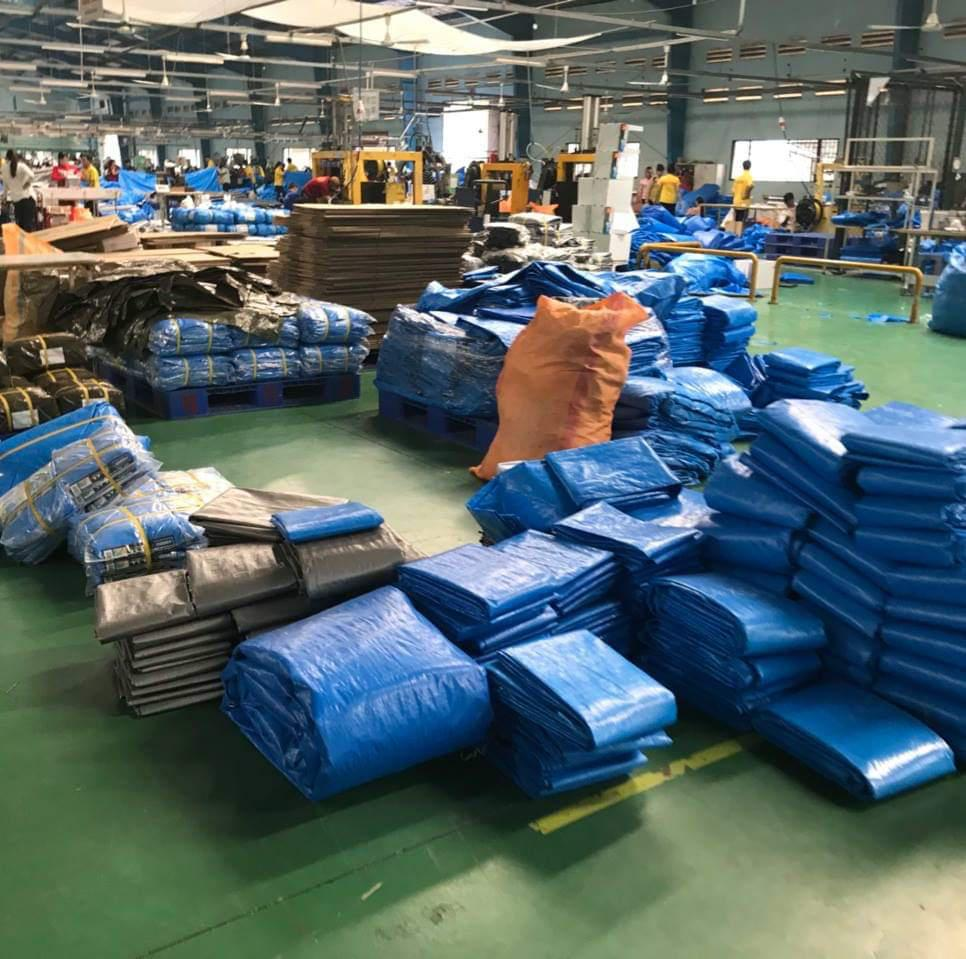 Hình ảnh : Nhà máy bạt nhựa 2 da hàn quốc xanh cam, xanh vàng, xanh đỏ giá rẻ